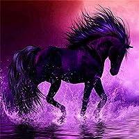 大人のためのジグソーパズル2000ピースパズル大人の十代の若者たちのための水中の黒い馬楽しいパズルゲーム-39.17x27.75インチ(99.5 x 70.5cm)