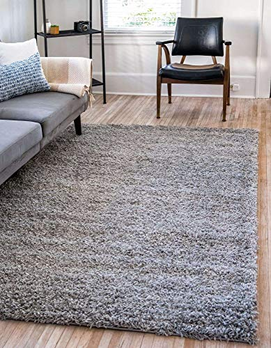 Unique Loom Solo Solid Shag Collection Modern Plush Cloud Gray Area Rug (6' 0 x 9' 0)
