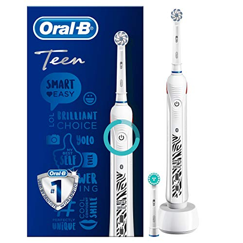 Oral-B SmartSeries Teen Girls Sensi Ultrathin - Cepillo eléctrico recargable con tecnología de braun, 1 mango, 3 modos incluyendo blanqueado y sensible y 2 cabezales de recambio