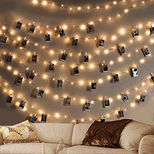Photo Clip String Lights,king do way 50 LED Copper Wire Light ,5M Photo Peg Fairy Lights with 50 Clips Battery Powered Christmas Lights,Hanging String Photo Frames Decoration for Bedroom Wedding Party