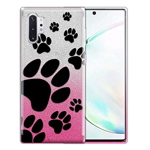 FINCIBO Case Compatible with Samsung Galaxy Note 10+ / 10 Plus 6.8 inch 2019, Shiny Silver Pink Gradient 2 Tone Glitter TPU Protector Cover Case for Note 10 Plus (NOT FIT Note 10) - Dog Paw Prints