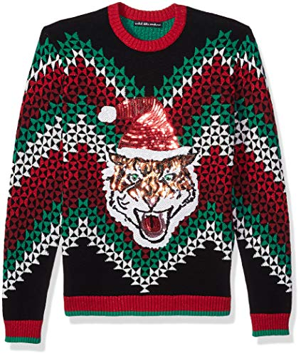 Blizzard Bay Men's Ugly Christmas Sweater Cat, Grey/Black, Large