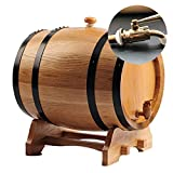 YINGJI Barril de Roble Barriles de Roble, Resina y grifos de Metal para almacenar vinos y licores.Dos Colores, múltiples capacidades (Color : Log Color(Metal Mouth), Size : 50 Liters)