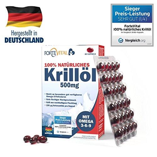 ForteVital Krill Öl 500mg Premium mit Omega 3 - Omega 6 - Omega 9 - 60 Kapseln (Krillöl) mit 21 mg Astaxanthin pro 100g