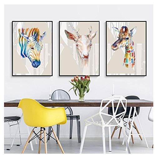 kaxiou Abstrakte Aquarell-Tiere, die Plakate malen, drucken auf Leinwand-Wandmalereien Hirsch- und Zebrabilder für das Leben -40X60Cmx3 Pcs No Frame