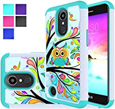 LG K20 V Case, LG K10 2017 Case, LG K20 Plus Case, LG LV5 Case, MicroP Hybrid Dual Layer Silicone Plastic Armor Defender Phone Case Cover for LG K20V / LG Harmony/LG Grace (Armor Green Owl)