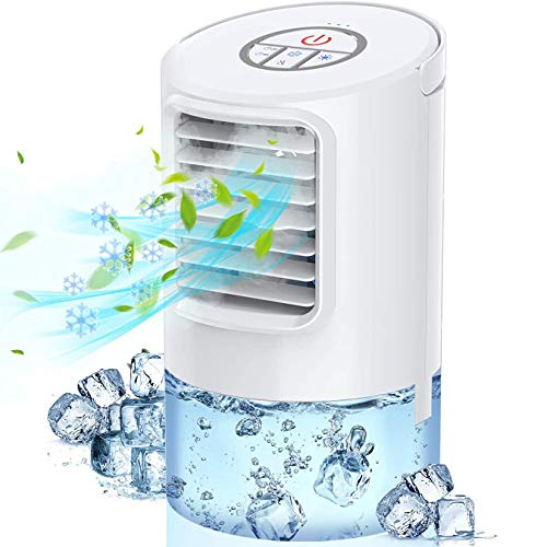 Personal Air Cooler, Portable Air Conditioner Fan, Small Space Evaporative Air Cooler with Timing, 3 Speeds Quiet Humidifier Misting Fan, Desktop Cooling Fan for Room, Home, Office, Dorm