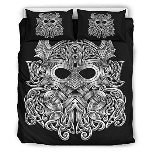 WellWellWell Viking Celtic Odin Juego de ropa de cama 3 con impresión 3D, funda de edredón lavable con cremallera, incluye 1 funda de edredón y 2 fundas de almohada, color blanco, 168 x 229 cm