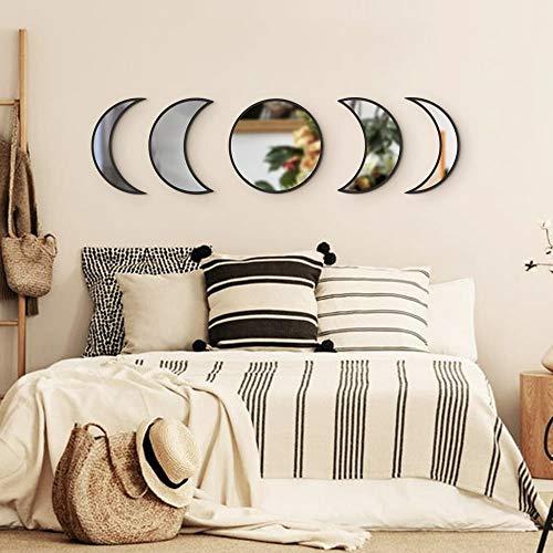 Funnytoy Skandinavisches natürliches Dekor, Acryl-Mondphasen-Spiegel, Innendesign, Holz, Mondphasen-Spiegel, Bohemian-Wanddekoration für Zimmer, nicht echte Spiegel (schwarz)