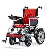 Silla de ruedas de ayuda de movilidad eléctrica plegable de lujo, silla de ruedas eléctrica plegable ligera, silla de ruedas eléctrica motorizada, portátil, rojo