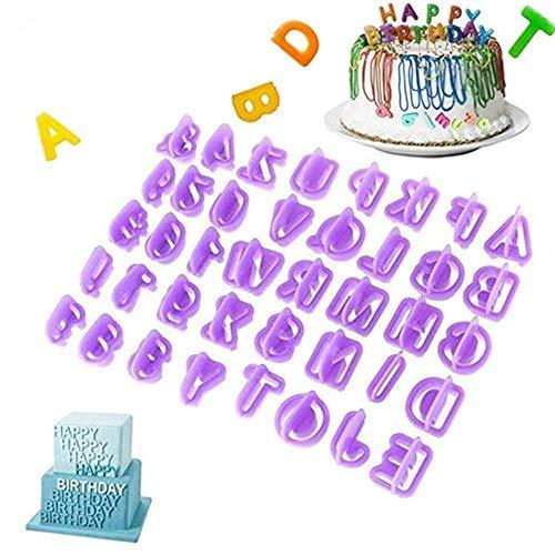 LangTek Emporte-pièces Alphabets, Moule Chiffres, Lot de 40 Moules à Pâtisserie en Plastique Forme Alphabets Chiffres Symboles Ustensile pour Décoration de Gâteau Pâte à Sucre Biscuit