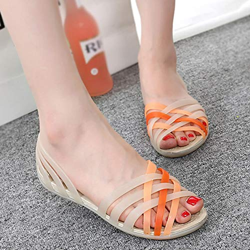 Summer Outdoor Women Mixed Rainbow Colors Jelly Sandals Platform Beach Wedges No Strap Peep Toe Casual Female Shoes,B3,37