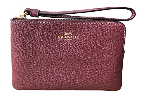 COACH Cross Grain Leather Corner Zip Wine One Size