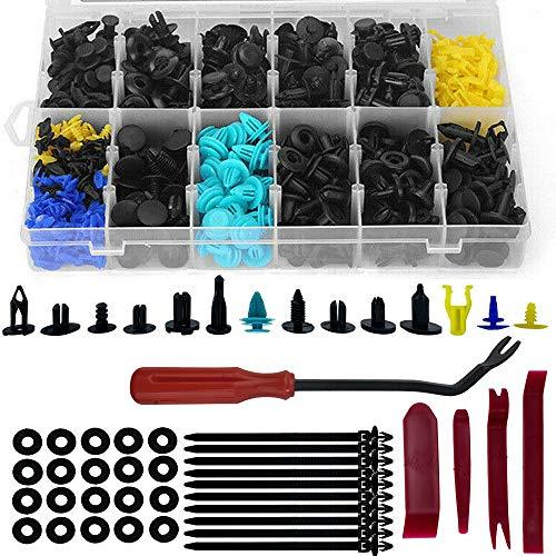 650 Stück Auto Befestigung Clips,Universal Kfz Werkzeug Türverkleidung Klammern Stoßstangen Zierleisten Set mit Demontage Werkzeuge, Schwammig Kissen und Kabelbinder