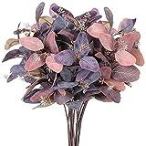 cherrypop 8 hojas verdes de seda de eucalipto, hojas de contacto real, ramas de eucalipto, ramitas de ramas, gris y rosa