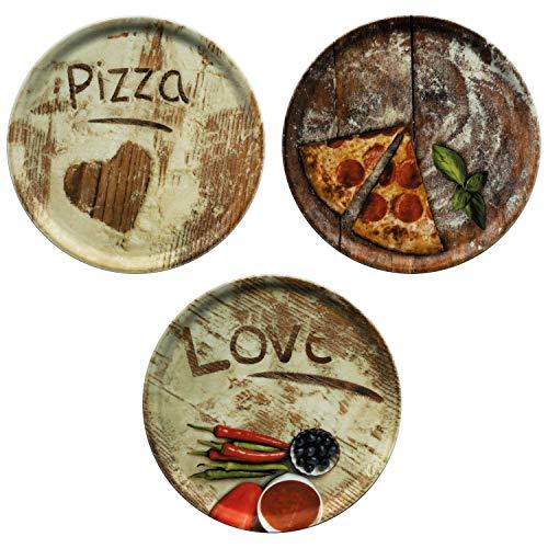 MamboCat 3-er Set Pizzateller Ø 33,3cm Volldekor Motive Lieblings-, Oliven- & Salami Pizza I große Teller aus Porzellan zum Anrichten für Pizza und Co oder zum Servieren als Wurst und Käseplatten