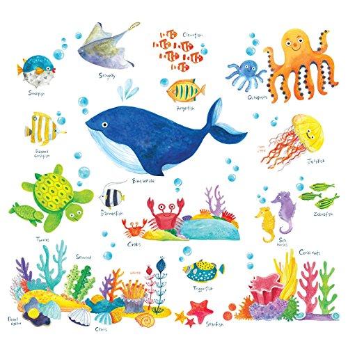 DECOWALL DS-8027 Sotto il Mare Adesivi da Parete Decorazioni Parete Stickers Murali Soggiorno Asilo Nido Camera da Letto per Bambini (Ver. Inglese) (Piccolo)