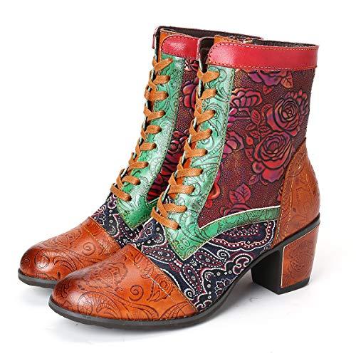 Camfosy Laarsjes voor dames, met hak, warme lederen laarzen bedrukt, retro plant, bloem, handgemaakt, lage blokhak, 2019, winter, herfst, ritssluiting, outdoor, wandelschoenen