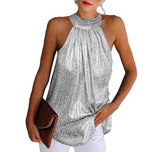 ARbuliry Frauen ärmellose Hemden Bluse hängenden Hals Hemd einfarbig lose Spitzen Sommerkleidung für Fest Party Office
