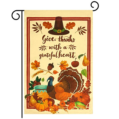 Unves Thanksgiving Garden Flag12x18, Double Sided Give Thanks Turkey Yard Flags with Pumpkin Fall Leaves Corn Grain, Holiday Rustic Vintage Autumn Harvest Decorations for House Outdoor Thanksgiving