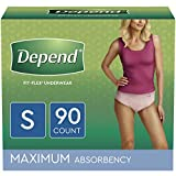 Depend FIT-FLEX Incontinence Underwear for Women, Disposable, Maximum Absorbency, Small, Blush, 90 Count