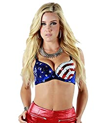 Sequin Rave Star and Stripe Print American Flag