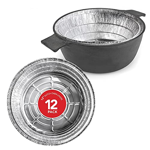 Dutch Oven Liner (12 Pack) 12' Disposable Dutch Oven Foil Liners - Standard Size 12-Inch 6 Quart Dutch Oven Inserts for Most Camping Ovens