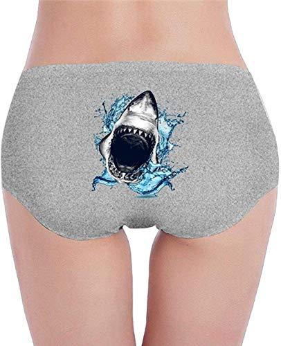 SJDWINM Ropa Interior De Algodón para Mujer Bragas Hipster Tiburón Boca Abierta Calzoncillo Transpirable-Ash_Large