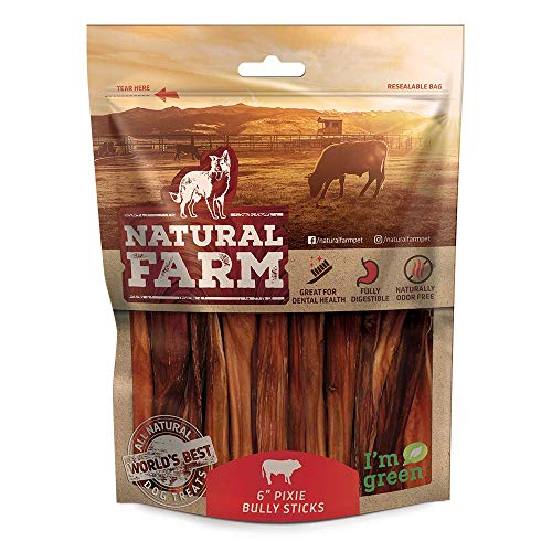 Natural Farm 6-Inch Pixie Bully Sticks for Dogs (30-Pack) Lighter, Thin Treats |