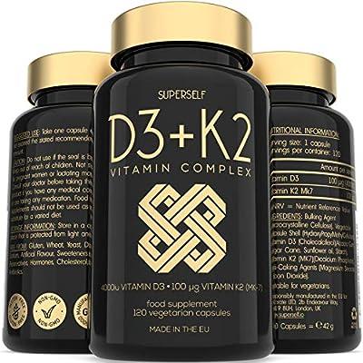 Vitamin D3 K2 Capsules - High Strength Vitamin D Supplement - 120 Vegetarian Tablets - 4000 IU Vitamin D3 and 100mcg Vitamin K2 MK7 - UK Made Vitamins for Bones, Blood Calcium Levels, Immune System