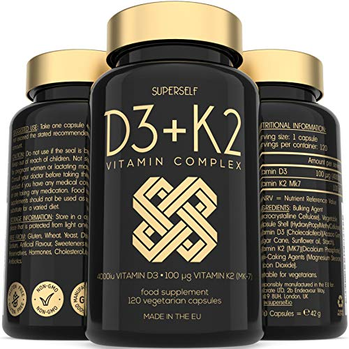 Vitamin D3 K2 Capsules - High Strength Vitamin D Supplement - 120 Vegetarian Tablets - 4000 IU Vitamin D3 and 100mcg Vitamin K2 MK7 - UK Made Vitamins for Bones, Blood Calcium Levels, Immune System