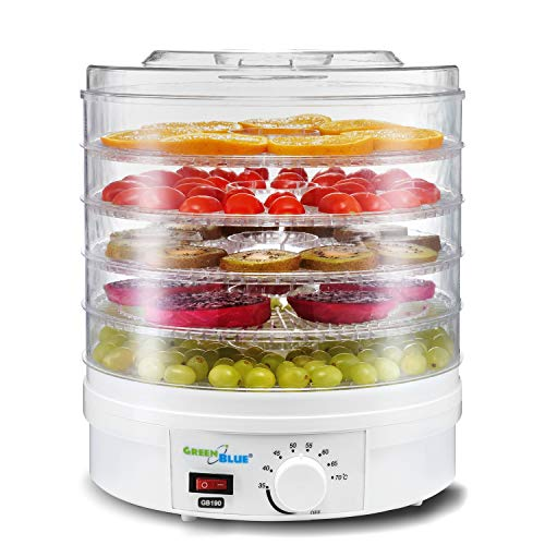 Green Blue GB190 Dörrautomat mit Temperaturregler 35-70° Nahrungsmitteltrockner für Pilze, Gemüse und Früchte 5 Platten 4,5cm 250W