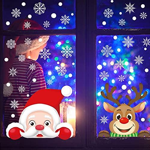 Pegatinas Navidad Ventanas Navidad Pegatina de Pared Pegatina de Ventana de Navidad Pegatina de Copo de Nieve Doble Cara Visible Adhesivo Papá Noel Alce Linda Reutilizable Pegatinas ✅