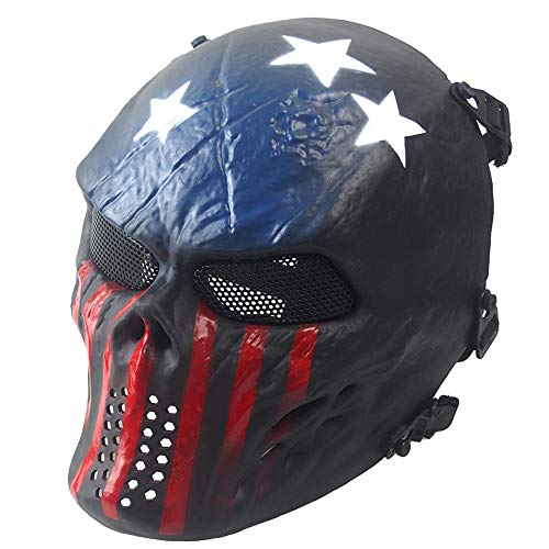 ETbotu - Accesorios para Coche o Moto, Airsoft, Paintball, protección Completa de la Cara, cráneo, Esqueleto, máscara de Juegos para Exteriores, Disfraz para CS