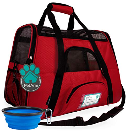PetAmi Premium Airline Approved Soft-Sided Pet Travel Carrier | Ideal for Small - Medium Sized Cats, Dogs, and Pets | Ventilated, Comfortable Design with Safety Features (Small, Red)