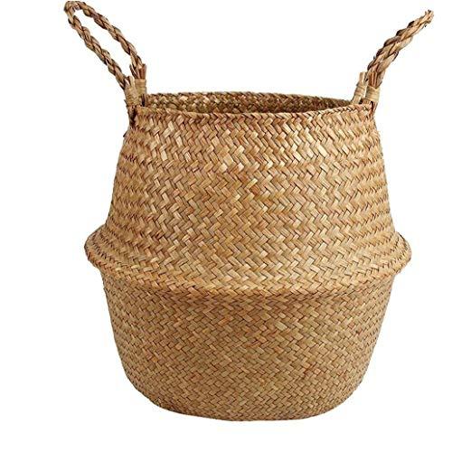 Berrywho Seagrass Cesta con Asas Tejida Natural Cesta del almacenaje Plegable Tiesto Container nórdica Decorativo Cesta de Mimbre de lavandería Juguetes