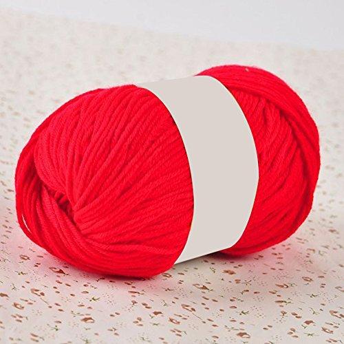 50 g Handgehäkeltes Strickgarn, Handarbeit, DIY, weich, bequem, reine Farbe, Wolle, Garn für Handtuch, Mantel, Schal, Kleidung, rot, Einheitsgröße