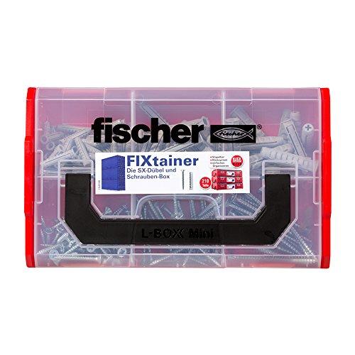 fischer FIXtainer SX-Dübel und Schrauben-Box, Dübelset mit 210 Teilen, für Beton, Voll- und Lochbaustoffe, praktische Werkzeugkiste mit Tragegriff & Klicksystem, Dübelset