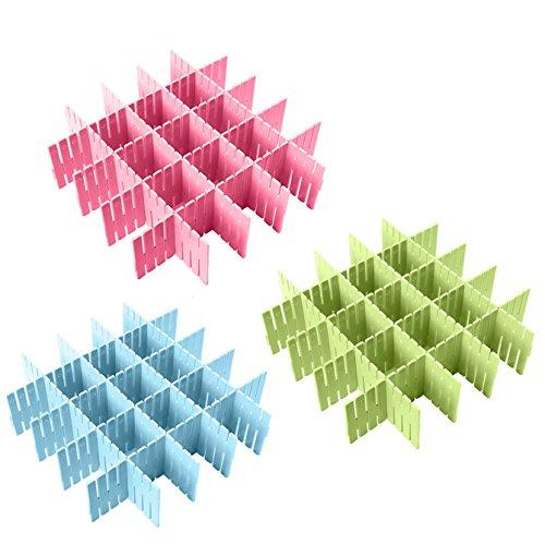 Coralpearl Separadores de Cajones de Plástico para Escritorio, Organizador de Almacenamiento para Corbatas, Camisetas, Sujetadores, Calcetines, Ropa Interior, Bufandas, Cubiertos de Cocina