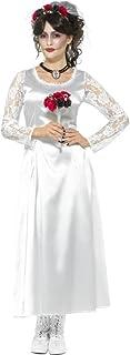 Smiffys Disfrazde Novia del día de Muertos, Blanco, con Vestido y Diadema