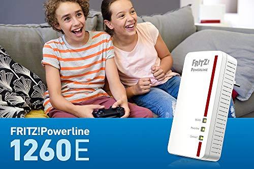 AVM Fritz Powerline 1260E Single-Adapter (1.200 MBit/s, WLAN-Access Point, ideal für Media-Streaming oder NAS-Anbindungen, deutschsprachige Version) weiß