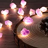 Genuine Amethyst Crystal Decorative Lights Cute Fairy String Lights 10ft 30 Natural Stones with Remote for Bedroom Hanging Ornaments Reiki Party Night Light Wedding Room Décor