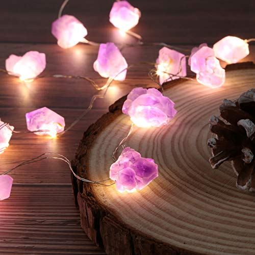 Nature Genuine Amethyst Healing Crystal String Lights 10ft Battery Operated with Remote for Valentine's Day Hanging Reiki Party Ornaments Bedroom Nightlight Wedding décor Mother's Day Gift