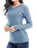 v28 Women Crew Neck Knit Stretchable Elasticity Long Sleeve Sweater Jumper Pullover (Small, Babyblue)