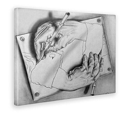 Giallobus - Cuadro - Impresion EN Lienzo - M.C. Escher - Manos - 100 x 140 CM