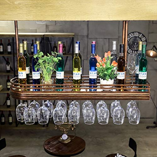 YWYW Wine Rack Wine Bottle Holder Red Wine Bottle Holder Wine Glass Frame Hanging Retro Goblets Red Wine Glass Frame Upside Down Coat Rack with Goblet Holder Lights (Size: 60 27cm)