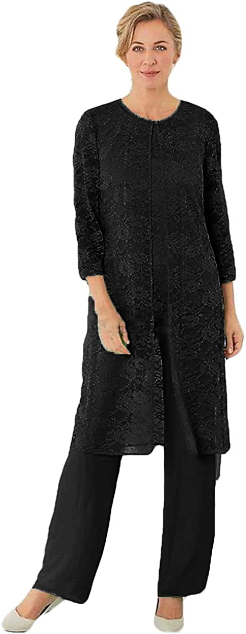 WZW Plus Size Mother of The Bride Pant Suits Lace Trouser Suits for Mother of The Groom Dress 3PC
