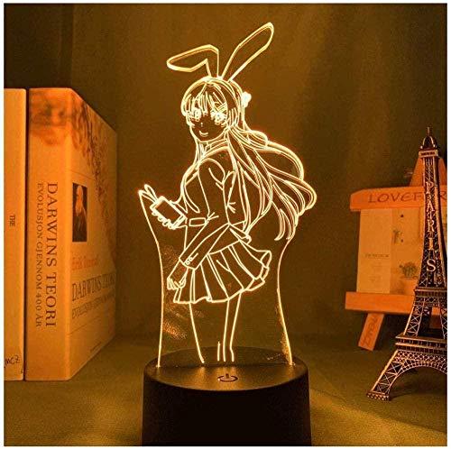 Anime Waifu Mai Sakurajima Led Luz de Noche para Decoración de Dormitorio Regalo de Luz Mai para Novio Sakurajima Bunny Girl Lámpara Led Anime Gift-16 Colores con Control Remoto