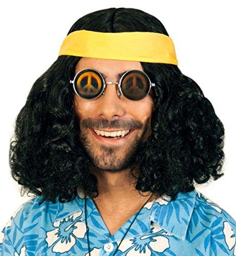 Perruque hippie flower power avec la bande