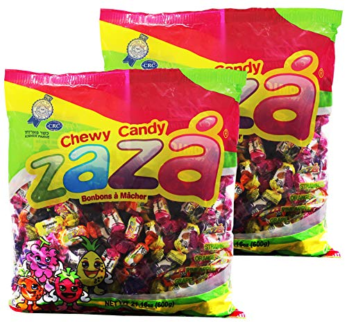 Zaza Assorted Bulk Chewy Candy, Colorful Flavorful Fruity Individually Wrapped Kosher Sweet candies, Halloween Trick or Treat, Variety Pack for Holiday Party, Valentines, Christmas, Thanksgiving, or O